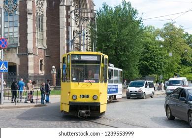 Lviv, Ukraine - May 17 2018- Old tram at Old City of Lviv in Lviv, Ukraine.