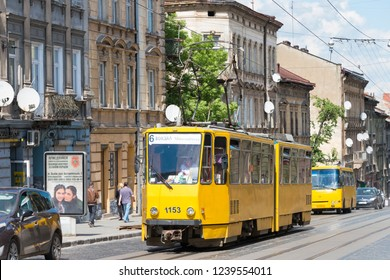 Lviv, Ukraine - May 17 2018- Old tram at Old City of Lviv in Lviv, Ukraine.