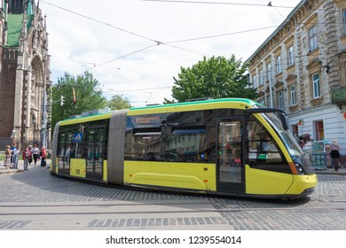 Lviv, Ukraine - May 17 2018- Electronic  tram at Old City of Lviv in Lviv, Ukraine.