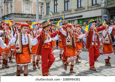 LVIV, UKRAINE - MAY 2018: Children in national costumes at a parade in the city center