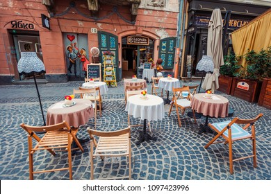 Lviv, Ukraine - May 21, 2018: Lviv outdoor cafe