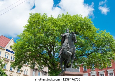 Lviv, Ukraine - May 22 2018- Monument to King Danylo (AD1201-1264) in Lviv, Ukraine. He was a King of Ruthenia, Prince of Galicia, Peremyshl, and Volodymyr.