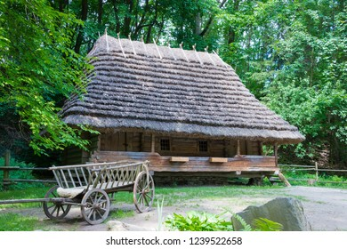 Lviv, Ukraine - May 22 2018- House from Oriavchyk village, Skole district, Lviv region, build by AD1792 at Museum of Folk Architecture and Rural Life in Lviv, Ukraine.