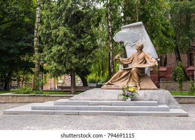 Lviv, Ukraine - May 31, 2016: Monument to Mykhailo Verbytsky in Lviv. Verbytsky was a Ukrainian Greek Catholic priest and composer.