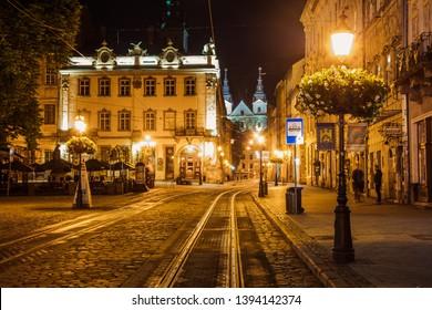 Lviv, Ukraine - May 4, 2019: Lviv Market square at night