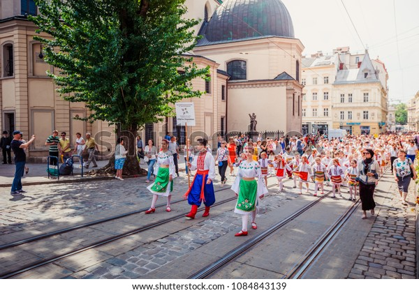 Lviv, Ukraine - May 5, 2018: Celebration of Lviv City Day 2018. City procession in the central part of the city