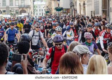 Lviv, Ukraine - May 6, 2017: cycling marathon VIII Lviv 100km ride, 425 bicycles, in the streets of the city. participants and athletes riding bikes