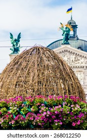 LVIV, UKRAINE - MAY 9: The Easter egg - symbol of Easter holiday was placed in Lviv on May 9, 2013, Lviv, Ukraine, Europe. Easter - one of the most honored holidays in Ukraine.