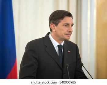 LVIV, UKRAINE - Nov 14, 2015: President of the Republic of Slovenia Borut Pahor during a meeting with President of Ukraine Petro Poroshenko in Lviv