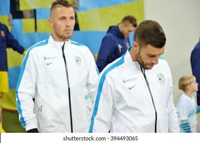 LVIV, UKRAINE - NOV 14: Football player national team of Slovenia during the match of play-off UEFA EURO 2016 national team of Ukraine vs Slovenia, 14 November 2015, Arena Lviv, Lviv, Ukraine