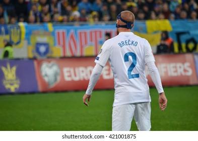 LVIV, UKRAINE - NOV 14: Miso Brecko during the match of play-off UEFA EURO 2016 national team of Ukraine vs Slovenia, 14 November 2015, Arena Lviv, Lviv, Ukraine