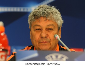 LVIV, UKRAINE - NOV, 24: Coach Mircea Lucescu at the pre-match press conference match of UEFA Champions League at the Arena Lviv on November 25, 2015 in Lviv, Ukraine.