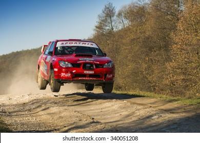 Lviv, Ukraine - November 1, 2015: Oleg Sobolew's Subaru Impreza WRX STI  competes at the annual Rally Galicia