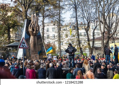 Lviv, Ukraine - November 1, 2018: Opening of monument of 100th anniversary of West Ukrainian People's Republic (ZUNR)