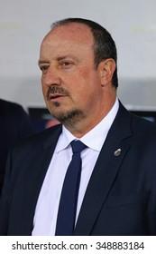 LVIV, UKRAINE - NOVEMBER 25, 2015: Real Madrid coach Rafael Benitez looks on during UEFA Champions League game against FC Shakhtar Donetsk at Arena Lviv stadium