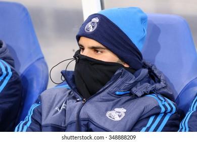 LVIV, UKRAINE - NOVEMBER 25, 2015: Karim Benzema of Real Madrid seats on the bench during UEFA Champions League game against FC Shakhtar Donetsk at Arena Lviv stadium