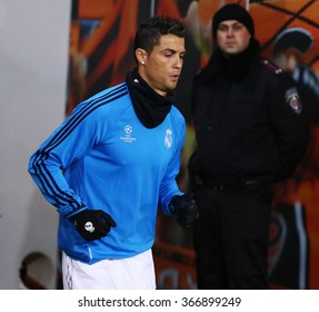 LVIV, UKRAINE - NOVEMBER 25, 2015: Cristiano Ronaldo of Real Madrid goes into the pitch before UEFA Champions League game against FC Shakhtar Donetsk at Arena Lviv stadium