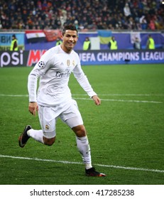LVIV, UKRAINE - NOVEMBER 25, 2015: Cristiano Ronaldo of Real Madrid reacts after scored a goal during UEFA Champions League game against FC Shakhtar Donetsk at Arena Lviv stadium