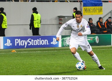 LVIV, UKRAINE - NOVEMBER, 25: Cristiano Ronaldo of FC Real Madrid during the match of UEFA Champions League against FC Shakhtar at the Arena Lviv stadium on November 25, 2015 in Lviv, Ukraine.