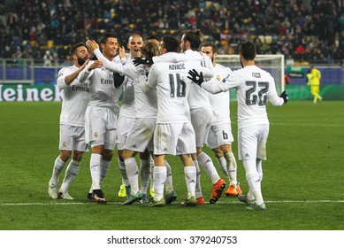 LVIV, UKRAINE - NOVEMBER, 25: FC Real Madrid football players celebrate a goal scored during the UEFA Champions League match between Shakhtar vs Real Madrid on November 25, 2015 in Lviv, Ukraine.