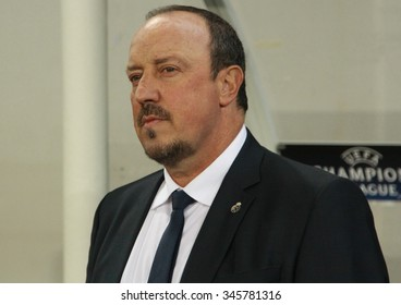 LVIV, UKRAINE - NOVEMBER 25th, 2015: Real Madrid Head coach Rafael Benitez  during the match of UEFA Champions League against Shakhtar in the Arena Lviv