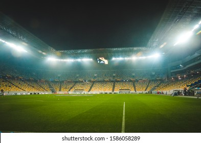 LVIV, UKRAINE - November 28, 2019: General view of the stadium and the view inside the bowl of the stadium during the UEFA Europa League match between Alexandria vs  Wolfsburg, UKRAINE