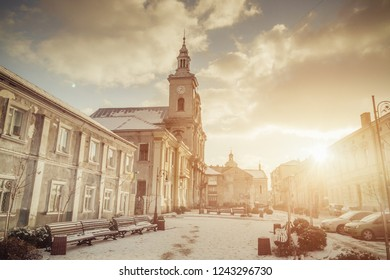 LVIV, UKRAINE November 28th , 2018: An old Polish church in the city center