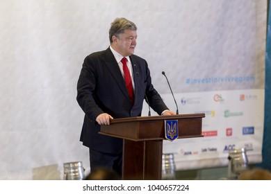 Lviv, Ukraine November 3, 2016.  President of Ukraine Petro Poroshenko giving a briefing on International Economic Forum.  Investors from major foreign companies attended this forum.