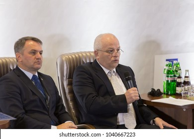 Lviv, Ukraine November 3, 2016.   First Deputy Prime Minister - Minister of Economic Development of Ukraine Stepan Kubiv giving a briefing on International Economic Forum.