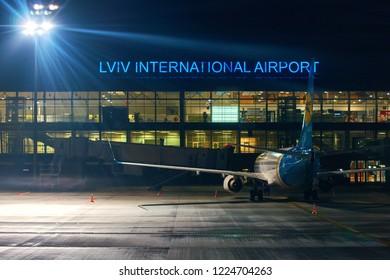 Lviv, Ukraine: Oct 12 2017 - Plane of Ukrainian International Airlines company waiting for passengers at Lviv International Airport.
