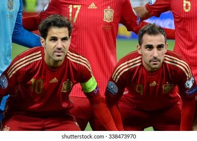 LVIV, UKRAINE - OCT 12: Cesc Fabregas (L) and Paco Alcacer (R) during the UEFA EURO 2016 qualifying match national team of Ukraine vs Spain, 12 October 2015, Olympic NSC, Kiev, Ukraine