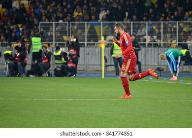 LVIV, UKRAINE - OCT 12: Jordi Alba in action during the UEFA EURO 2016 qualifying match national team of Ukraine vs Spain, 12 October 2015, Olympic NSC, Kiev, Ukraine