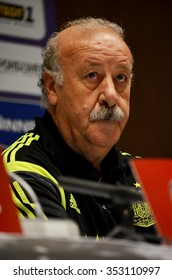 LVIV, UKRAINE - OCT 12: Vicente del Bosque at a press conference before the UEFA EURO 2016 qualifying match national team of Ukraine vs Spain, 12 October 2015, Olympic NSC, Kiev, Ukraine