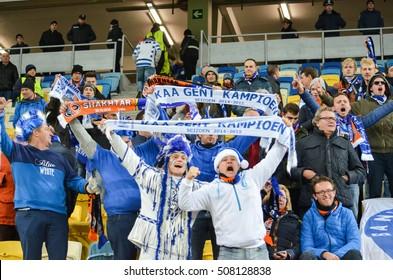 LVIV, UKRAINE - OCT 20: Dressed Belgian fans support the team KAA Gent during the UEFA Europa League match between Shakhtar Donetsk vs KAA Gent ,20 October 2016, Ukraine