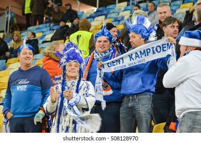 LVIV, UKRAINE - OCT 20: Dressed Belgian fans support the team KAA Gent during the UEFA Europa League match between Shakhtar Donetsk vs KAA Gent ,20 October 2016, Ukraine