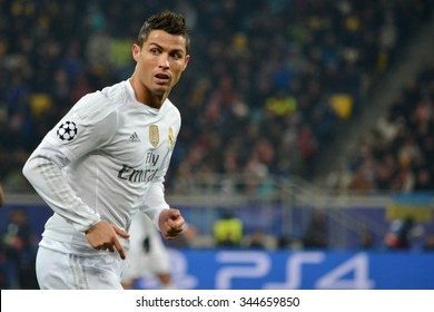 LVIV, UKRAINE - OCT 25: Cristiano Ronaldo in action during the UEFA Champions League match between Shakhtar vs Real Madrid, 25 October 2015, Arena Lviv, Ukraine