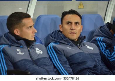 LVIV, UKRAINE - OCT 25: Keylor Navas (R) on the bench during the UEFA Champions League match between Shakhtar vs Real Madrid, 25 October 2015, Arena Lviv, Ukraine