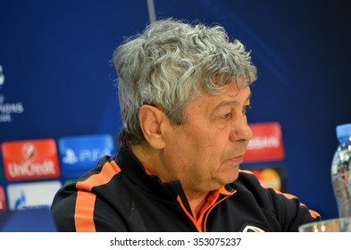 LVIV, UKRAINE - OCT 25: Mircea Lucescu on the press conference before the UEFA Champions League match between Shakhtar vs Real Madrid, 25 October 2015, Arena Lviv, Ukraine