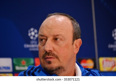 LVIV, UKRAINE - OCT 25: Rafael Benitez in a press conferencein before the UEFA Champions League match between Shakhtar vs Real Madrid, 25 October 2015, Arena Lviv, Ukraine