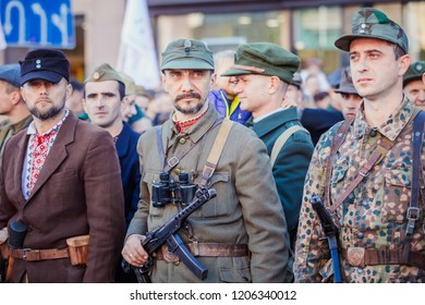 Lviv, Ukraine - October 14, 2018: March of defenders of Ukraine. Day of the defenders of Ukraine. Soldiers in retro uniform