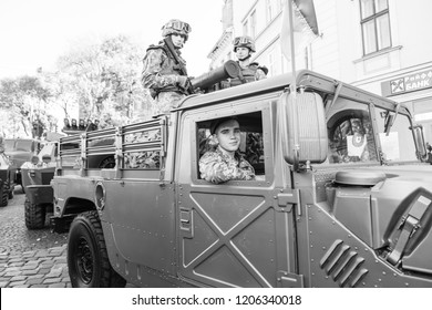Lviv, Ukraine - October 14, 2018: March of defenders of Ukraine. Day of the defenders of Ukraine. Military armored  car closeup