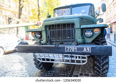 Lviv, Ukraine - October 14, 2018: March of defenders of Ukraine. Day of the defenders of Ukraine. Ural Military armored  car