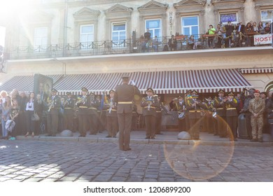 Lviv, Ukraine - October 14, 2018: March of defenders of Ukraine. Day of the defenders of Ukraine. military orchestra