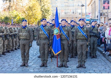 Lviv, Ukraine - October 14, 2018: March of defenders of Ukraine. Day of the defenders of Ukraine. Soldiers marching