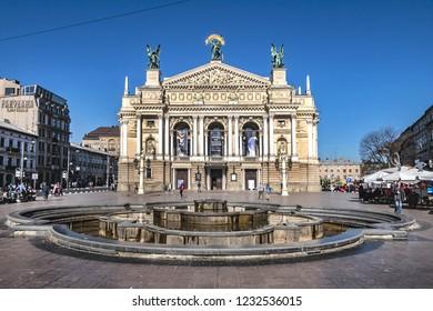 LVIV, UKRAINE - OCTOBER 16, 2018: Opera and Ballet Theatre in Lviv. Lviv theatre was built in Viennese neo-Renaissance style in 1897 - 1900.