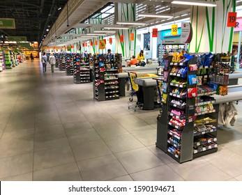 "LVIV, UKRAINE - OCTOBER 16: Empty space in front of cash desks in a supermarket in a supermarket ""Silpo"" on October 16, 2019 in Lviv, Ukraine"