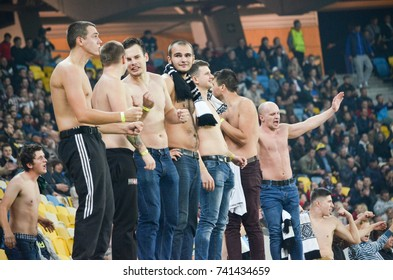 LVIV, UKRAINE - October 19, 2017: Ultras climbed to the edge of the rostrum and supported the team during the UEFA Europa League match, Ukraine