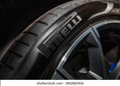 Lviv, Ukraine - October 21, 2020: Closeup of new Pirelli P Zero tire