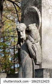 Lviv, Ukraine - October 30 2019: Tomb sculpture of Jesus Christ with lamb at Lychakiv cemetery in Lviv, Ukraine