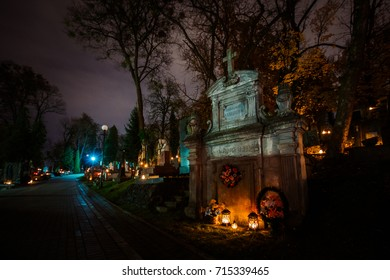 Lviv, Ukraine - October 31, 2016: Lychakiv cemetery